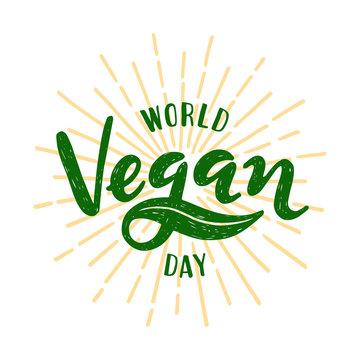 World vegan day Lettering. Vector illustration on white background