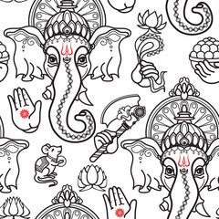 Vector seamless pattern of hand drawn line art Ganesha.