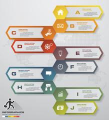 Abstract 10 steps infographics elements.Vector illustration. timeline presentation.