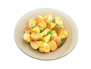 Fried potatoes with dill on dark glass dish
