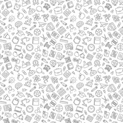Pattern of welcome back to school with modern thin line icons school supplies on white background. Back To School Background. Back to school super shopping. Super sale. Vector illustration.