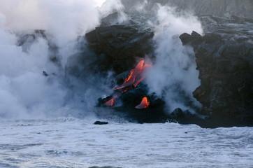 Fond de hotte en verre imprimé Volcan Kilauea volcano lava flow, Hawaii