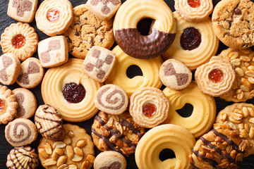 Photo sur Toile Biscuit Beautiful cookies assorted close-up. background horizontal top view