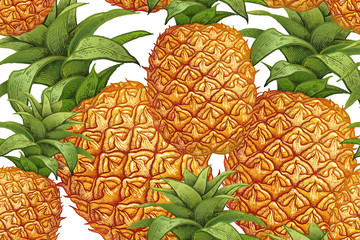Botanical seamless pattern with pineapple.