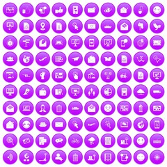 100 mail icons set purple