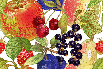 Vintage seamless pattern with fruits and berries.