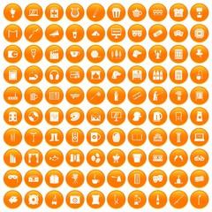 100 leisure icons set orange