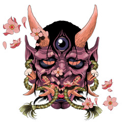 Traditional female Japanese demon tattoo design in full color. It is called Hannya in the Japanese folklore and belong to the Yokai world.