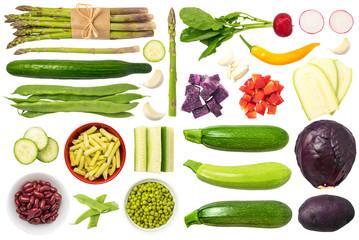 Foto op Plexiglas Groenten Vegetables Isolated on White Background Set 1