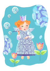 A little princess among the flowers blowing soap bubbles. Cute fairy blows soap bubbles in the garden