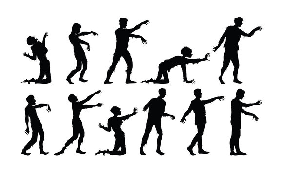 Vector silhouettes of zombies isolated on white background