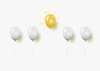 New idea with Outstanding creative balloon concept on gray background for copy space. minimal concept. Vector Illustration