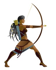 indian native african huntress archer warrior with bow and arrow