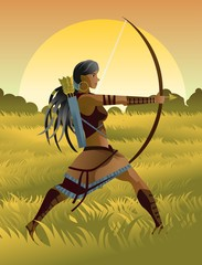 indian native african huntress archer warrior with bow and arrow in the wild