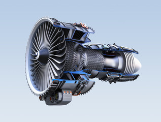 Cross section of turbofan jet engine isolated on light blue background. 3D rendering image. with clipping path