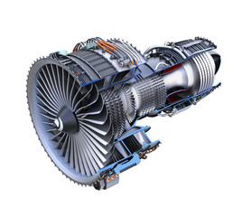 Cross section of turbofan jet engine isolated on white background. 3D rendering image with clipping path.