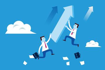 Businessman chasing achievement concept