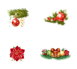 Christmas ornament icon set