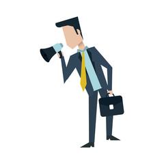 businessman holding megaphone  avatar icon image vector illustration design