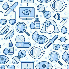 Ophthalmology seamless pattern with vision care thin line icons. Vector illustration for banner, web page, print media.