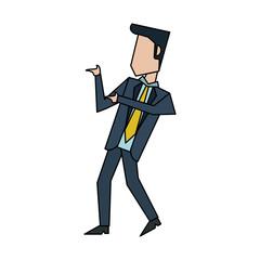 businessman talking and moving  avatar icon image vector illustration design