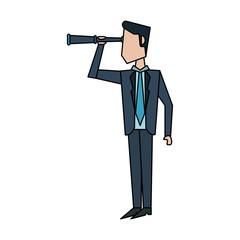 businessman looking through telescope avatar icon image vector illustration design