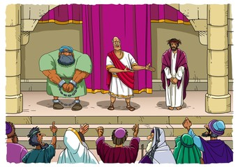 Pilate offers to choose Christ or Barabbas
