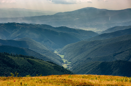 beautiful late summer landscape in mountains