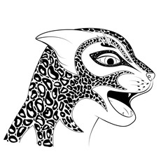 The head of a wild cat. Zen Tangle spotted a Cheetah. Colouring book with a Jaguar.