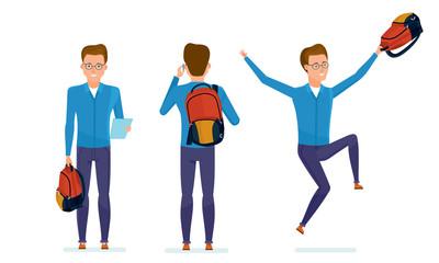 Student prepares for classes, communicates on phone, rejoices at success.