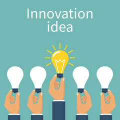 Unique idea. Hand holding lightbulb concept. Solution innovative technology. Vector illustration flat style design. Electric lamp as symbol of creativity. Outstanding solution, find.