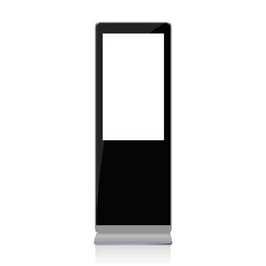 Black digital signage mockup with blank screen - front view. Multimedia stand isolated on white background. Vector illustration