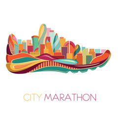 City marathon. Poster - running, sport shoe and the city. Vector illustration