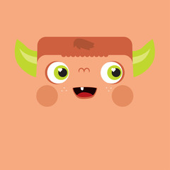 Cute illustrated monster. Picture for children. The head of the devil.