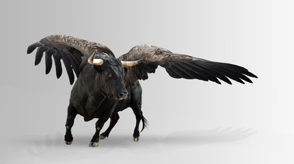 Mythological winged bull. Wall mural