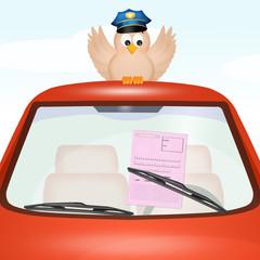 Road violation under the windscreen wiper