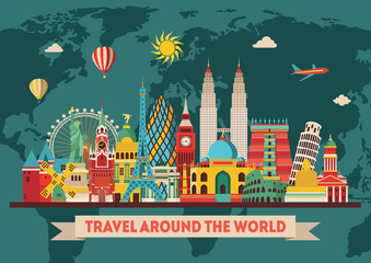 Travel and tourism background. Vector illustration
