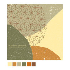 Autumn poster,background,banner greeting card, template cover in Japanese pattern style