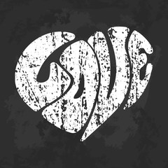 Grunge typography poster design with love in heart shape