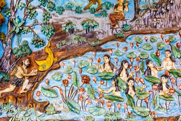 Luang Pha Bang,Laos 30 July 2017.Ancient Buddhist temple mural painting inside of Wat Hosian Voravihane