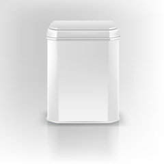 Vector 3d mockup. White square empty tin packaging. Tea, coffee,