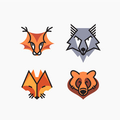 Vector set of flat line and color design animals. Decorative elements, icons, symbols, mascots.