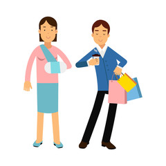 Cheerful couple shopping together, woman with arm in a plaster colorful vector Illustration