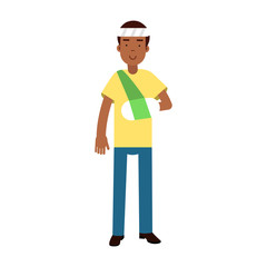 Black man with arm in a plaster and bandage on his head colorful vector Illustration