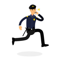 Police officer character in a blue uniform running and whistling vector Illustration