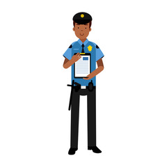 Policeman character in a blue uniform holding clipboard with form for police report vector Illustration