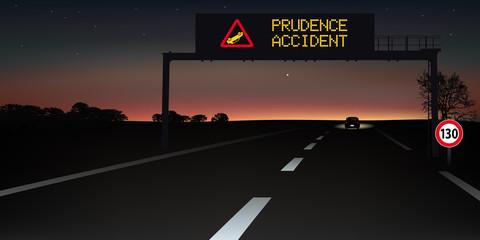 autoroute - signalisation routière - panneau - accident - sécurité routière