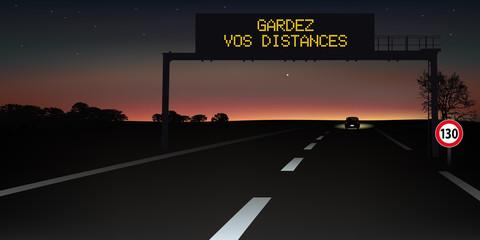 autoroute - signalisation routière - panneau - sécurité routière - distance de sécurité