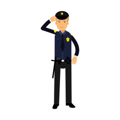 Police officer in a blue uniform standing at attention saluting, colorful character vector Illustration