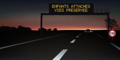 autoroute -  signalisation routière - panneau - ceinture de sécurité - sécurité routière